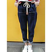 Mujer Sencillo Tiro Medio Microelástico Perneras anchas Pantalones Un Color