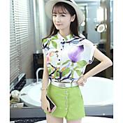 Mujer Simple Casual/Diario Verano Blusa Pantalón Trajes,Cuello Barco Floral Manga Corta