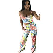 Mujer Sensual Noche Discoteca Todas las Temporadas Verano Otoño Tank Top Pantalón Trajes,Sin Tirantes Geométrico Sin Mangas