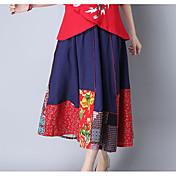 Mujer Casual/Diario Midi Faldas,Columpio Verano Estampado Bloque de Color