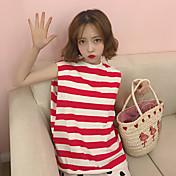Mujer Simple Casual/Diario Camiseta,Escote Redondo A Rayas Sin Mangas Algodón