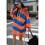 Mujer Simple Noche Camiseta,Escote Redondo Un Color A Rayas Bloques Media Manga Algodón