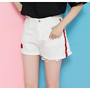 Mujer Sencillo Tiro Alto Microelástico Chinos Shorts Pantalones,Corte Recto Estampado