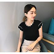 Mujer Corto Cardigan Casual/Diario Un Color Escote Redondo Manga Corta Algodón Verano Medio Microelástico