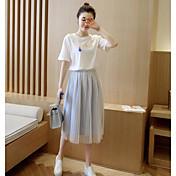 レディース カジュアル/普段着 夏 Tシャツ(21) スカート スーツ,シンプル ラウンドネック プリント 半袖