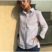 Mujer Simple Noche Camisa,Cuello Camisero Un Color A Rayas Manga Larga Algodón