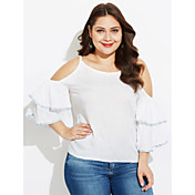Mujer Simple Casual/Diario Camiseta,Con Tirantes Un Color Manga Corta Seda
