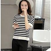Mujer Simple Casual/Diario Camiseta,Escote Redondo A Rayas Manga Corta Otro