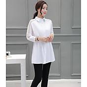 レディース カジュアル/普段着 シャツ,シンプル シャツカラー ソリッド コットン 長袖
