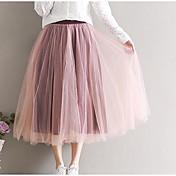 Mujer Noche Midi Faldas,Línea A Verano Otoño Un Color