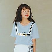 Mujer Simple Noche Camiseta,Escote Redondo Un Color Estampado Letra Manga Corta Algodón