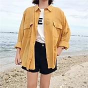 Mujer Simple Casual/Diario Camisa,Escote Cuadrado Letra Manga Larga Algodón