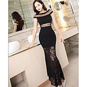 Mujer Corte Bodycon Encaje Pequeño Negro Vestido Fiesta Sexy,Un Color Escote Redondo Maxi Sin Mangas Otro Verano Tiro Alto Microelástico
