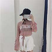 Mujer Bonito Casual/Diario Camiseta,Escote Redondo Letra Manga Larga Poliéster