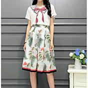 レディース カジュアル/普段着 夏 Tシャツ(21) スカート スーツ,シンプル Vネック リーフ柄 半袖