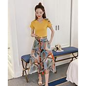 Mujer Simple Casual/Diario Verano T-Shirt Falda Trajes,Escote en Pico Floral Manga Corta