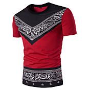 Hombre Simple Casual/Diario Verano Camiseta,Escote Redondo Estampado Manga Corta Algodón Medio