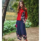 Mujer chinoiserie Tiro Alto Microelástico Chinos Pantalones,Corte Ancho Floral