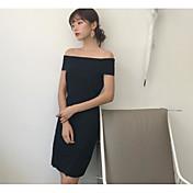 Mujer Largo Pullover Casual/Diario Un Color Escote Barco Manga Corta Algodón Verano Fino Microelástico