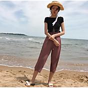 Mujer Corto Pullover Casual/Diario Un Color Escote Redondo Manga Corta Lino Verano Fino Microelástico