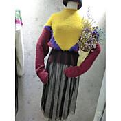 Mujer Regular Pullover Noche Casual/Diario Simple Activo,Un Color Bloques Cuello Alto Manga Larga Otro Otoño Invierno Grueso Microelástico