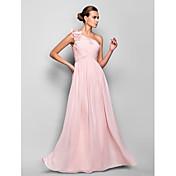 Vaina / columna un hombro piso longitud vestido de fiesta de gasa con flor (s) ruching by ts couture®