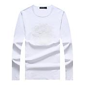 Hombre Simple Casual/Diario Tallas Grandes Para Todas las Temporadas Camiseta,Escote Redondo Un Color Manga Larga Algodón Licra Medio