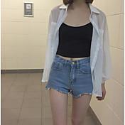 Mujer Simple Casual/Diario Verano Camisa,Cuello Camisero Un Color Manga Larga Algodón Medio