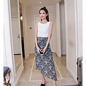 Mujer Simple Casual/Diario Verano T-Shirt Falda Trajes,Escote Redondo Un Color Sin Mangas