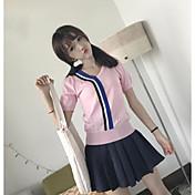 Mujer Regular Cardigan Casual/Diario Bloques Escote Redondo Manga Corta Algodón Verano Medio Microelástico