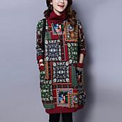 Feminino Solto Vestido,Para Noite Casual Temática Asiática Estampado Gola Alta Acima do Joelho Manga Longa Algodão Linho Outono Inverno