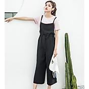 Mujer Sencillo Tiro Alto Microelástico Mono Pantalones,Corte Recto Un Color