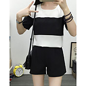 Mujer Simple Casual/Diario Primavera T-Shirt Pantalón Trajes,Escote Redondo A Rayas Manga Corta Microelástico