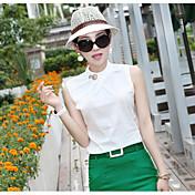 Mujer Simple Casual/Diario Camisa,Escote Redondo Un Color Sin Mangas Otro