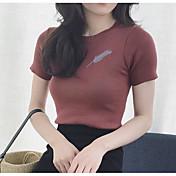 Mujer Regular Pullover Casual/Diario Un Color Escote Redondo Manga Corta Otro Otoño Fino Microelástico