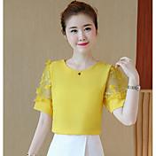 Mujer Simple Casual/Diario Camiseta,Escote Redondo Un Color Manga Corta Nailon