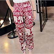 Mujer Boho Tiro Alto Microelástico Chinos Pantalones,Pantalones Harén Estampado