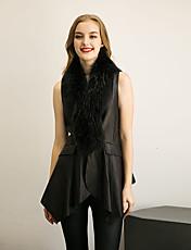 Dames Eenvoudig / Street chic Herfst / Winter Bontjas,Uitgaan / Casual/Dagelijks / Nette schoenen V-hals-Mouwloos Zwart Effen Medium