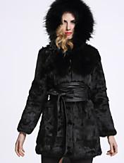 Feminino Casaco de Pelo Casual Sofisticado Inverno,Sólido Preto Pêlo de Coelho / Pêlo de Raposa Com Capuz-Manga Longa