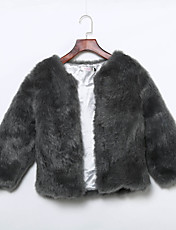 Women's Plus Size / Casual/Daily / Party/Cocktail Simple Fur Coat,Solid Round Neck ½ Length Sleeve Fall /
