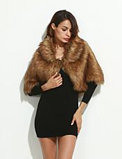 Cappotto di pelliccia Da donna Per uscire / Casual / Da party/cocktail Autunno / Inverno Sensuale / Semplice,Tinta unita Rotonda Acrilico