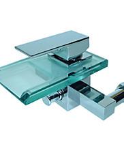 moderní vodopád vana baterie s sklem výtok (montáž na stěnu)