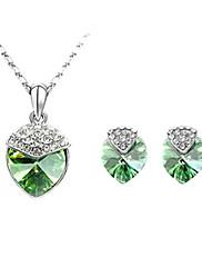 krystal s náhrdelníkem platinovým pokovování a náušnice sada