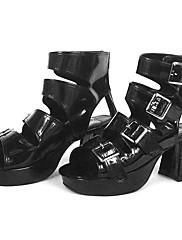 """roman style 3 """"kužel na podpatku černé lakované lolita sandály"""