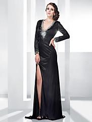 TS Couture Formalna večer Svečana priredba Haljina - Seksi Otvorena leđa Kroj uz tijelo V izrez Do poda Rastezljivi saten sPerlice