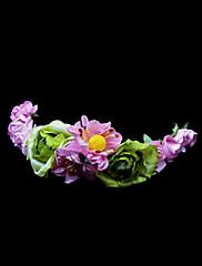 růžová daisy a zelené růže květin věnec / čelenka