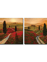 Ručně malované Krajina Dva panely Plátno Hang-malované olejomalba For Home dekorace