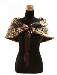 Elegantní umělé kožešiny se stuhami / leopard tisk strana / večer Šátek / zábal
