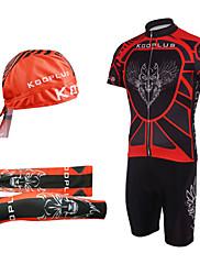 Kooplus Cyklodres a kraťasy se šlemi Pánské Krátké rukávy Jezdit na kole Cyklistické šortky Návleky na ruce Klobouky Dres Sady oblečení
