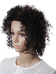 capless přírodní vzhled střední kudrnaté syntetické vlasy paruka